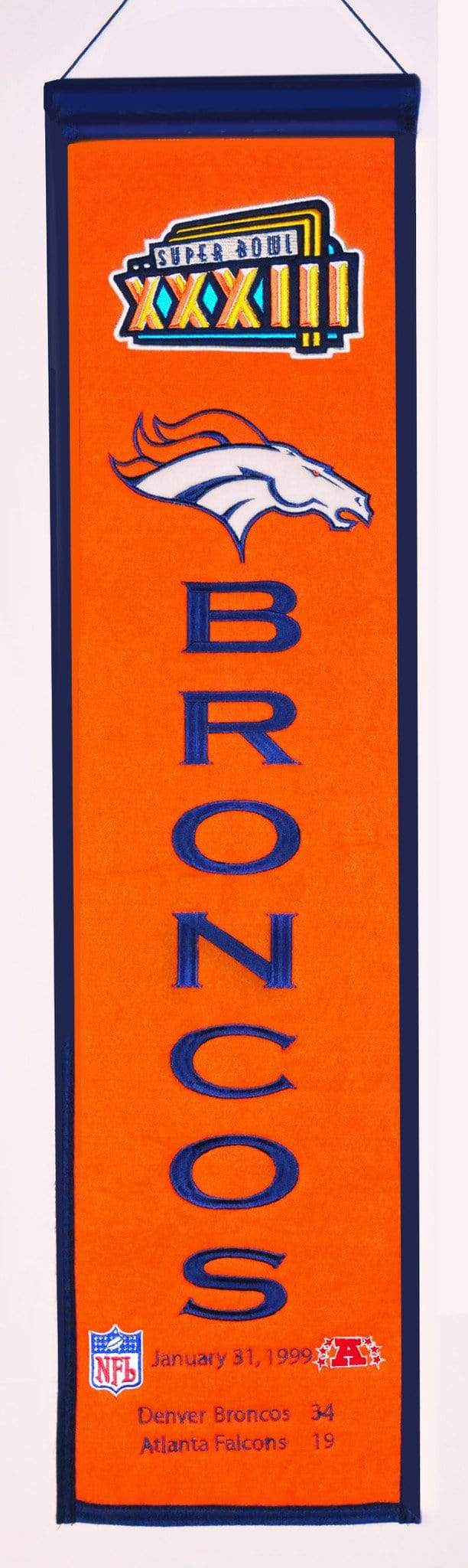 Winning Streak Sports Banners ONE SIZE Super Bowl 33 Denver Broncos 8x32 Wool Heritage Banner