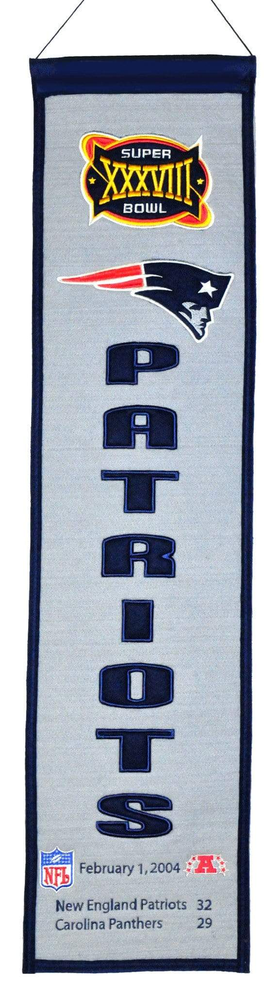 Winning Streak Sports Banners ONE SIZE Super Bowl 38 New England Patriots 8x32 Wool Heritage Banner