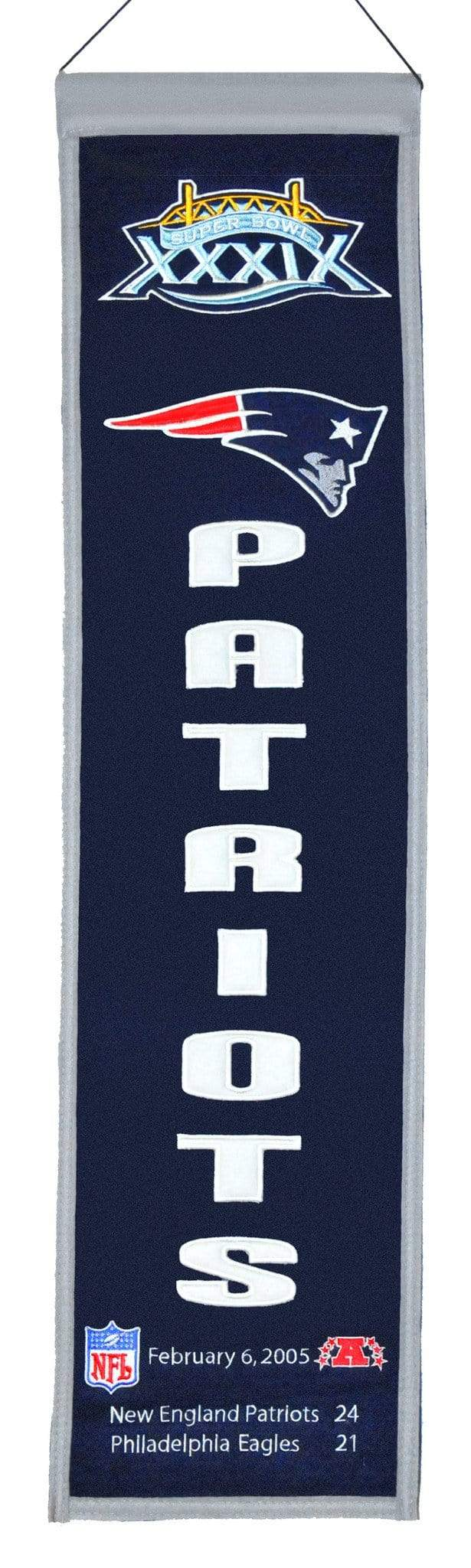 Winning Streak Sports Banners ONE SIZE Super Bowl 39 New England Patriots 8x32 Wool Heritage Banner