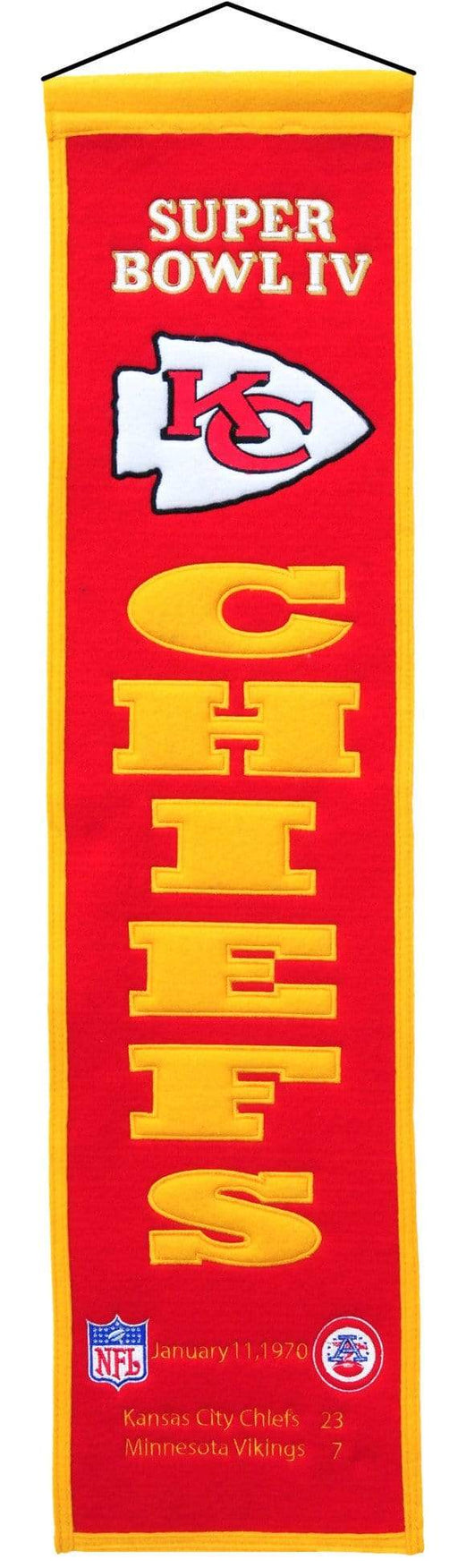 Winning Streak Sports Banners ONE SIZE Super Bowl 4 Kansas City Chiefs 8x32 Wool Heritage Banner