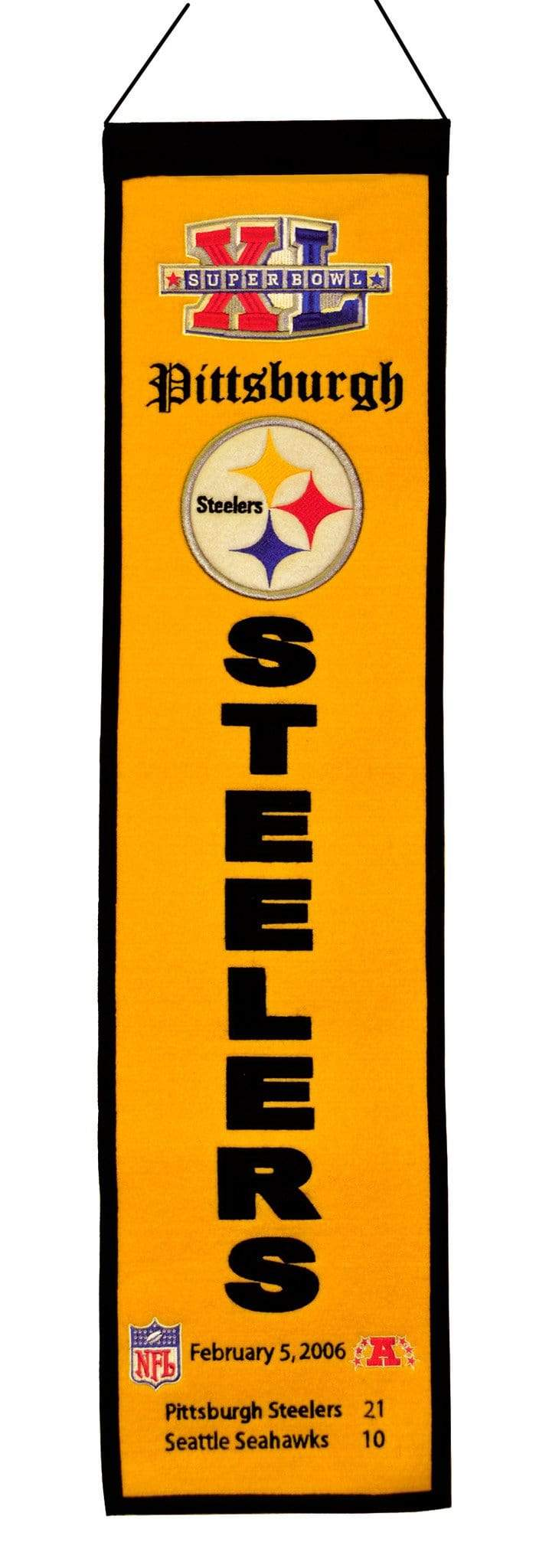 Winning Streak Sports Banners ONE SIZE Super Bowl 40 Pittsburgh Steelers 8x32 Wool Heritage Banner