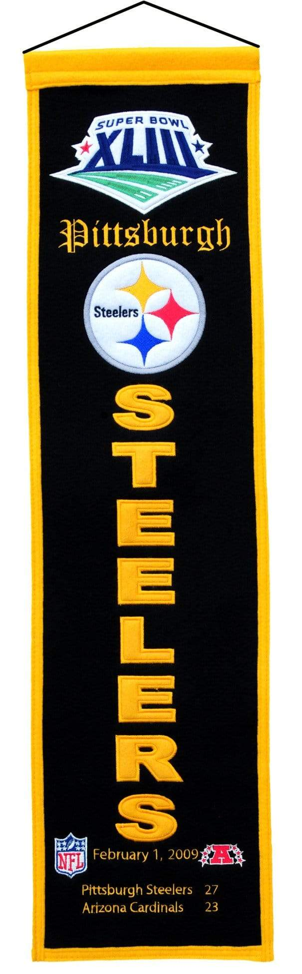 Winning Streak Sports Banners ONE SIZE Super Bowl 43 Pittsburgh Steelers 8x32 Wool Heritage Banner
