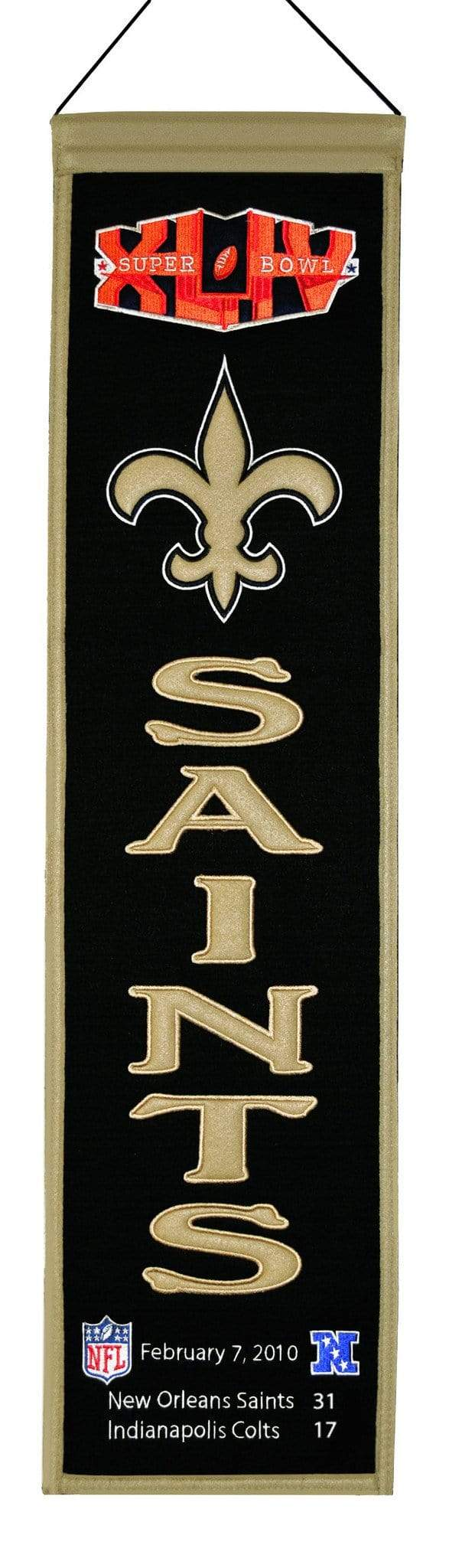 Winning Streak Sports Banners ONE SIZE Super Bowl 44 New Orleans Saints 8x32 Wool Heritage Banner