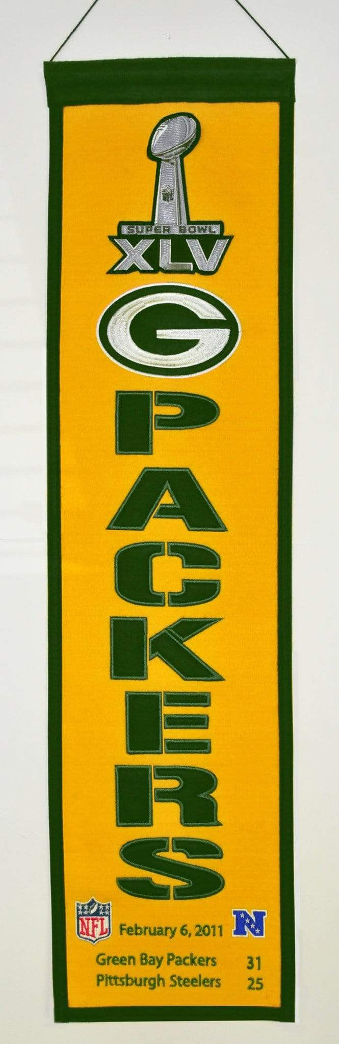 Winning Streak Sports Banners ONE SIZE Super Bowl 45 Green Bay Packers 8x32 Wool Heritage Banner