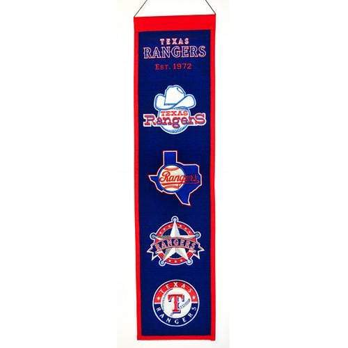 Winning Streak Sports Banners ONE SIZE Texas Rangers  8x32 Wool Heritage Banner