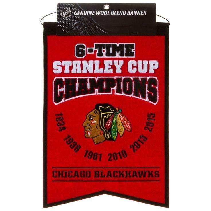 Winning Streak Sports Banners Red Chicago Blackhawks Embroidered Wool 6-Time Stanley Cup Champions Traditions Banner