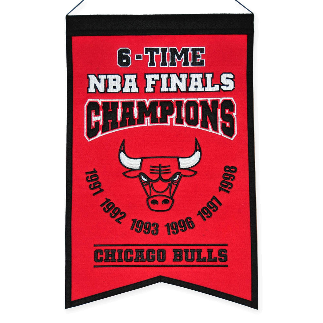 Winning Streak Sports Banners Red Chicago Bulls Embroidered Wool 6-Time NBA Finals Champions Traditions Banner