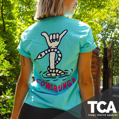"""Sink or Swim ...Cowabunga"" - Unisex Summer Tee"