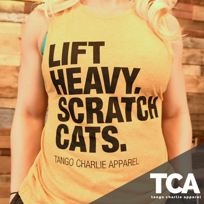 """Lift Heavy, Scratch Cats"" - Women's Muscle Tank"