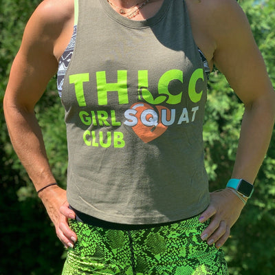 """THICC Girl Squat Club"" - Women's Olive Drab Extended Crop Tee"