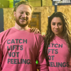 """Catch Lifts, Not Feelings"" - Unisex Pink Crewneck"