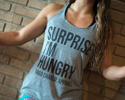 """Surprise I'm Hungry"" - Womens Racerback Tank"