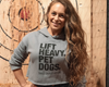 """Lift Heavy, Pet Dogs"" - Special Edition Grey Women's Crop Hoodie"