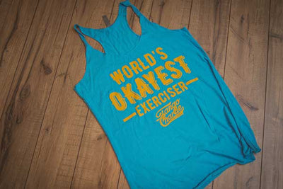 """World's Okayest Exerciser"" - Womens Racerback Tank"