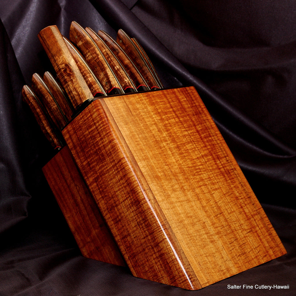 Custom handmade best chef and steak knife sets in any size exotic Hawaiian woods Salter Fine Cutlery
