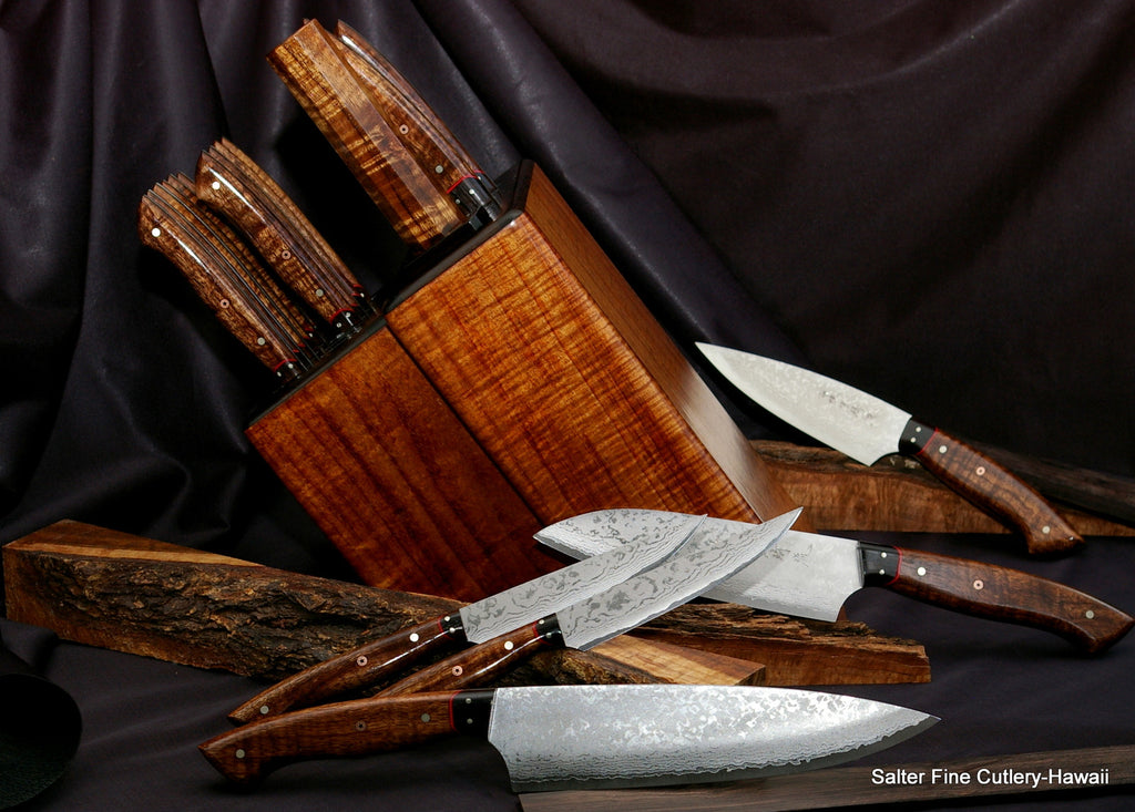 Combination chef and steak knife set in custom matching block with sharpening rod by Salter Fine Cutlery
