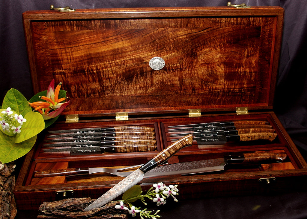 Handmade Custom Steak Knife Set and Carving Set in Presentation Box from Salter Fine Cutlery of Hawaii