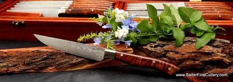 Handmade steak knife with VG10 stainless damascus blade and metal bolster by Salter Fine Cutlery of Hawaii