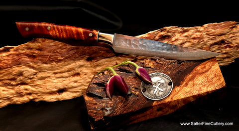 Hammered finish steak knife made from R2 core damascus stainless steel
