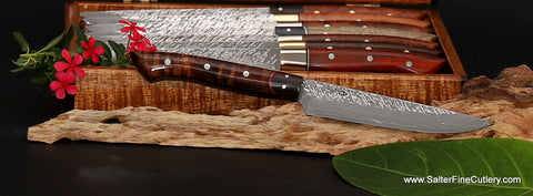 Raptor design series full tang handmade stainless steel steak knife with curly koa wood and Mozambique ebony handle by Salter Fine Cutlery
