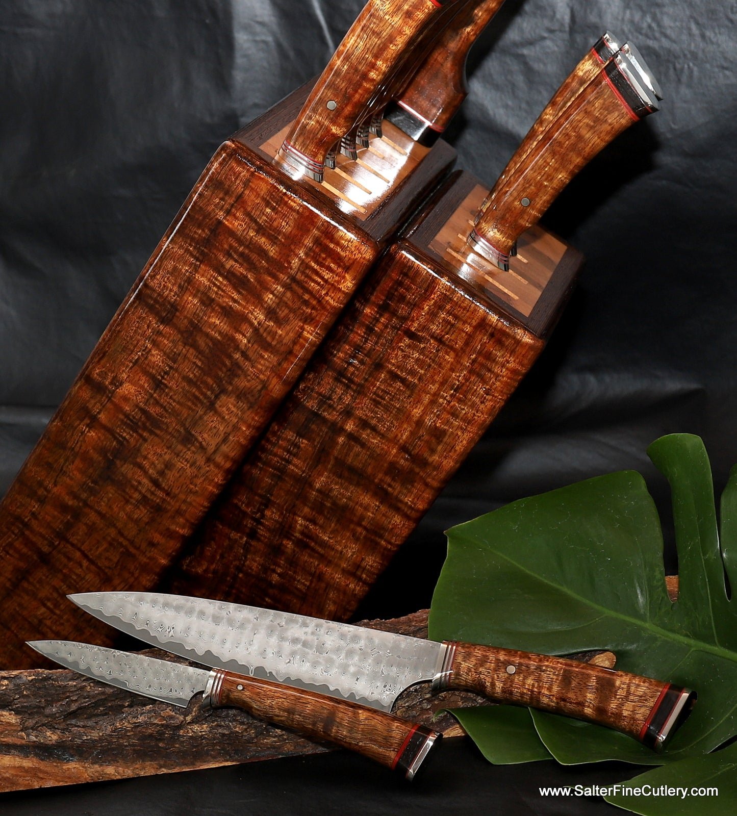 Custom luxury kitchen knife set in block stand for gourmet cooking by Salter Fine Cutlery of Hawaii