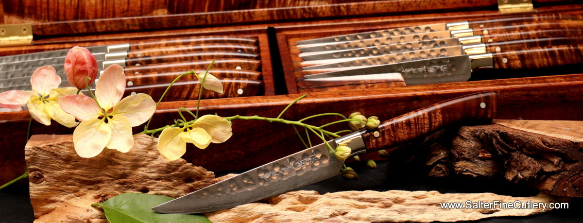 Detail view of artisan design and handcrafted luxury steak knives by Salter Fine Cutlery