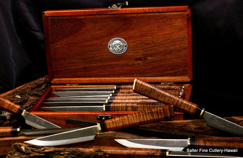 This custom hand-forged steak knife set featured decorative handcrafted handles in a simple storage gift box