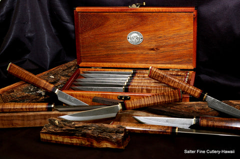 Custom handcrafted steak knife set with decorative handles in gift box by Salter Fine Cutlery