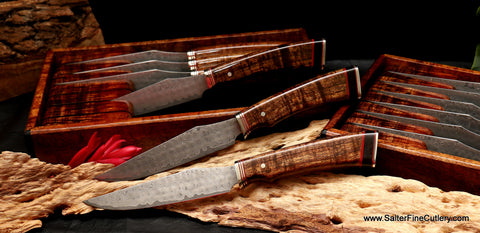 Handmade steak knives featuring Gingami3 powder metal die stainless steel with Charybdis whirlpool damascus finish by Salter Fine Cutlery of Hawaii