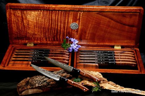 Luxury dining room decor and home entertainment with large handcrafted bespoke steak knife set by Salter Fine Cutlery