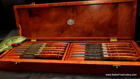 Custom handcrafted fine steak knife set with hammered finish blades and kiawe wood handles and presentation box by Salter Fine Cutlery