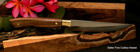 Custom steak knife with walnut handle and brass bolster