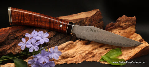 Stainless best quality handmade damascus steak knife by Salter Fine Cutlery Hawaii