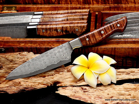 """""""Charybdis"""" top-of-the-line whirlpool pattern: 130mm Cattleman's style blade shape with full-tang western style handles featured in this 12-piece steak knife set by Salter Fine Cutlery of Hawaii"""