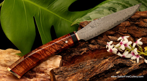 Custom handmade steak or utility knife stainless damascus by Salter Fine Cutlery