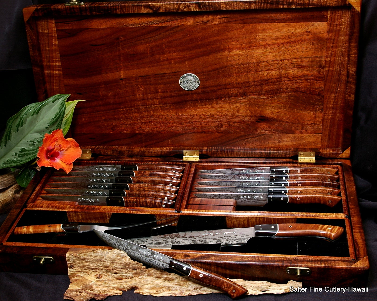 14-pc individually handcrafted steak knife set by Salter Fine Cutlery of Hawaii