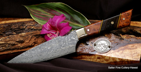 150mm small chef knife with Thuya burl handle and ebony decorative accent
