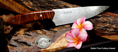 150mm hand-forged damascus chef knife with koa wood handle Salter Fine Cutlery