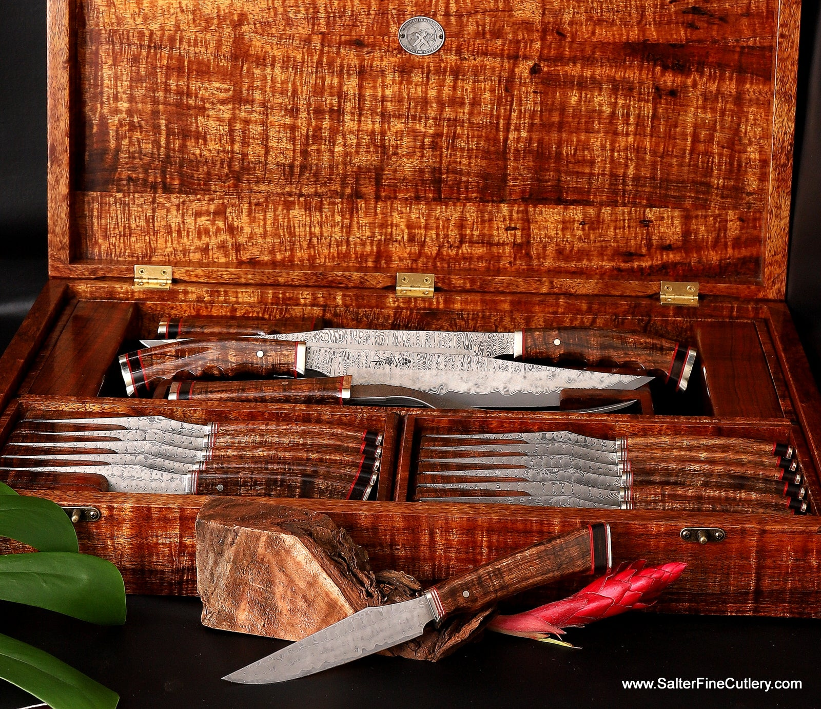 16-piece custom luxury cutlery set featuring 12 steak knives and a 4-piece carving set in a spectacular matching presentation display box by Salter Fine Cutlery of Hawaii