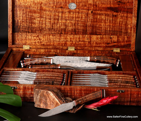Beautiful Custom Consignment Steak and Carving knife set in rare Hawaiian koa wood presentation box handcrafted by Salter Fine Cutlery