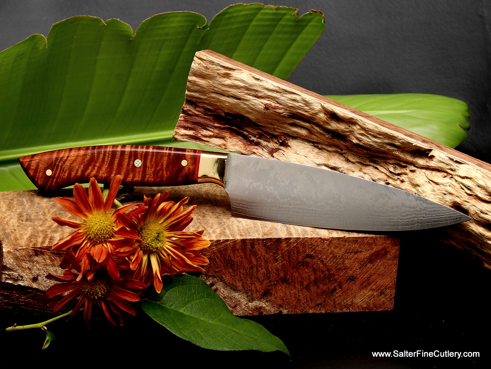 160mm chef knife with exotic curly koa wood handle handmade in Hawaii by Salter Fine Cutlery