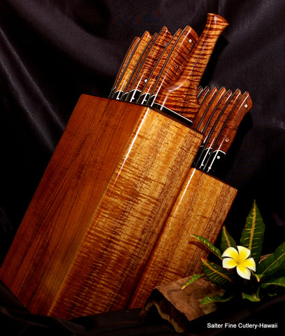 Solid handcrafted curly koa wood, maple and wenge wood block with 17-pc handmade cutlery set