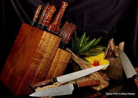Large highest quality chef and steak knife set in knife block of exotic wood for luxury living by Salter Fine Cutlery