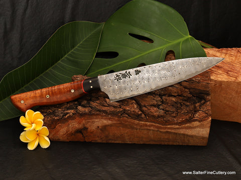 170mm small chef knife with curly koa wood and Mozambique ebony handle handmade luxury cutlery by Salter Fine Cutlery of Hawaii
