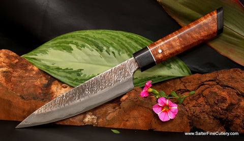 170mm Small Raptor series chef knife with traditional style handle plus one extra decorative option by Salter Fine Cutlery