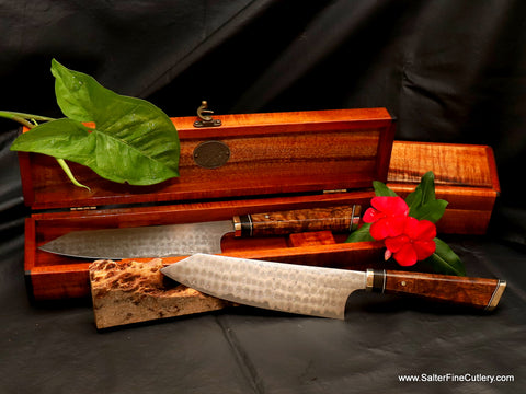 Individual chef knives make beautiful and treasured gifts when paired with a handcrafted keepsake box from Salter Fine Cutlery of Hawaii