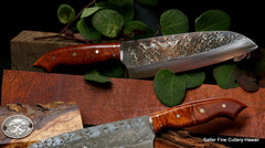 SRS13 stainless santoku with unique hammered x-pattern by Saji with curly kiawe wood handle