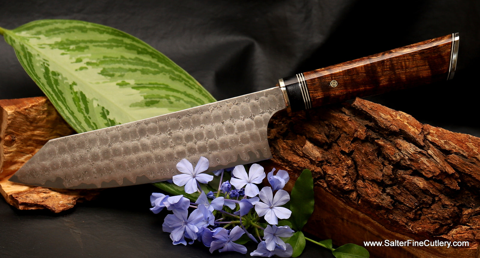 New 180mm bunka style vegetable and meat knife with extra decorative handle by Salter Fine Cutlery