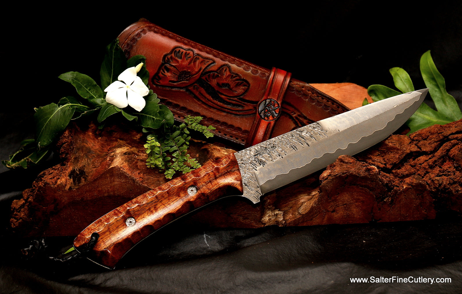 Custom hunting knife and leather sheath by Salter Fine Cutlery