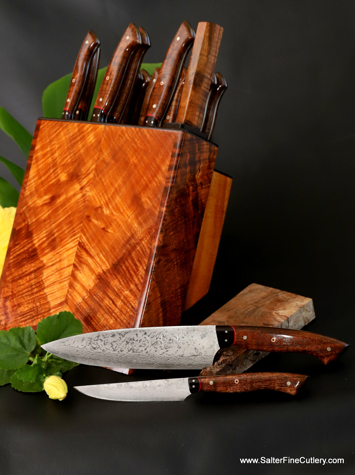 19-piece custom handmade luxury steak carving and chef knife set in knife block by Salter Fine Cutlery